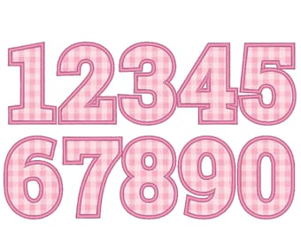Bold block wide satin stitch Numbers, birthday number machine embroidery applique designs 2, 3, 4, 5, 6, 7 inches BX included