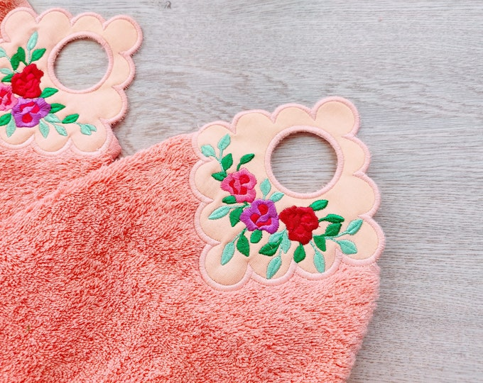 Roses rose flowers floral towel topper bath towel hanging hole In The Hoop machine embroidery design ITH project towel hanger flower design