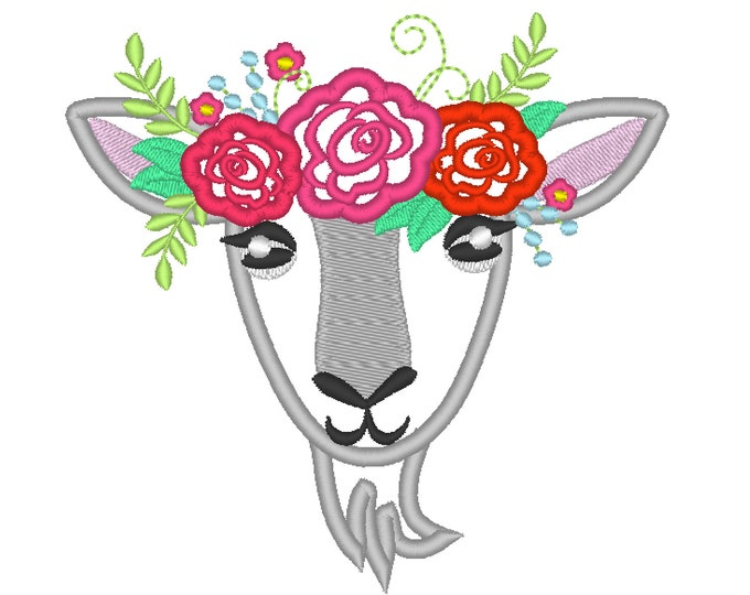 Goat face with shabby chick roses crown applique machine embroidery designs applique goat with flowers embroidery  goat head