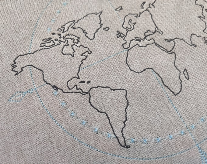 Light stitch compass wanderlust World Map machine embroidery outline light design, globe - assorted sizes for hoops 4x4 and 5x7 6x10 8x8
