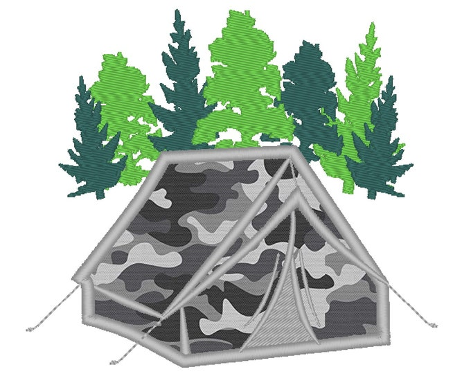 Camping tent machine embroidery applique design, wild and free, camping tent applique, 4x4, 5x7 and 6x10