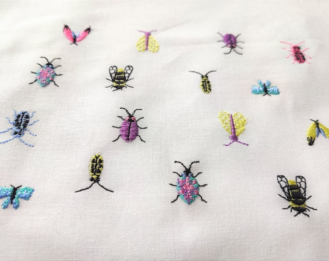 Micro mini small bugs and butterflies 8 types machine embroidery designs tiny sizes less than one inch wee bee bug butterfly moth insect BX!