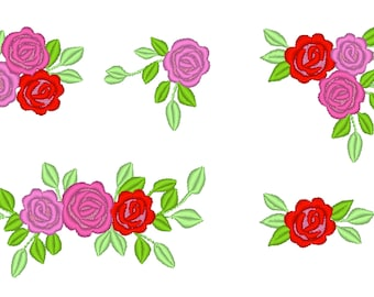 NEW Accent mini flowers, 5 TYPES, machine embroidery designs, set of various, many sizes, mini beautiful roses, tiny rose floral embroidery