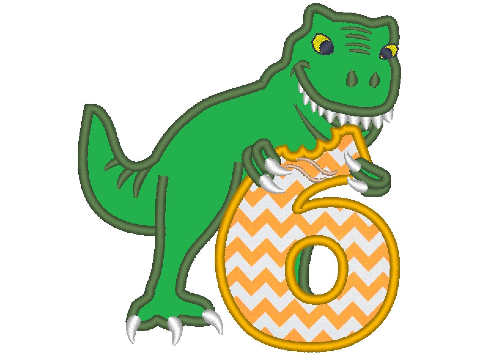 T-rex dinosaur Birthday number six 6 machine embroidery ...