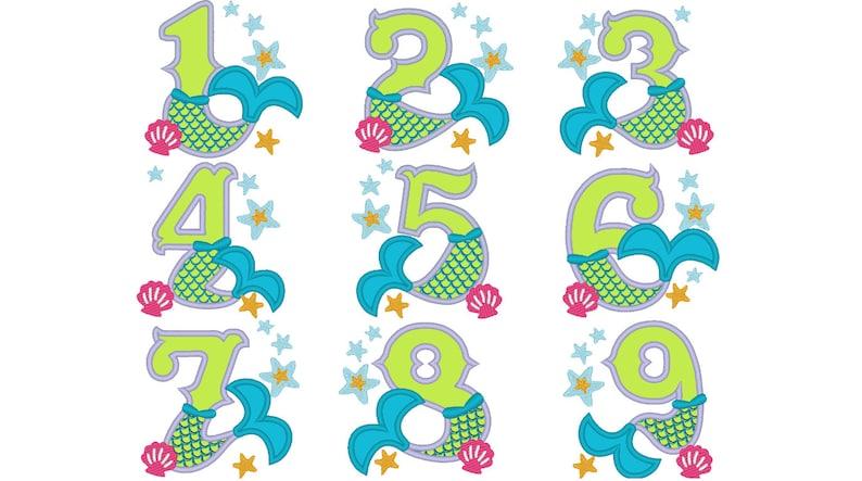 Mermaid Tail Birthday number Mermaid numbers birthday outfit image 0