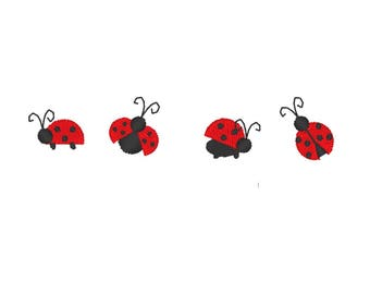 Lady bug micro designs, machine embroidery designs,  set less than one inch sizes
