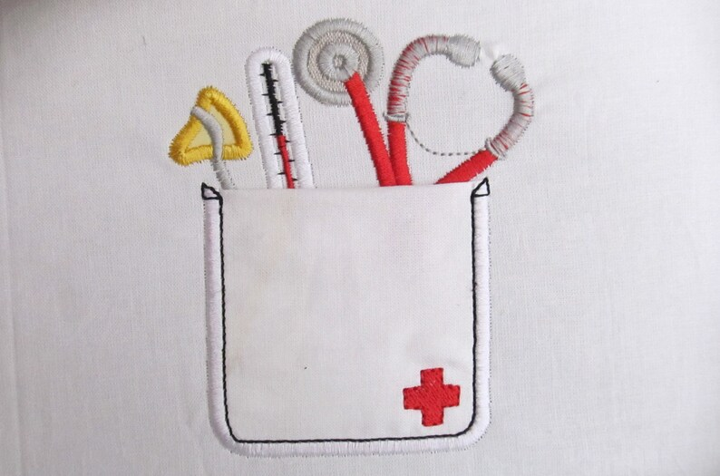 Cute doctor real pockets  INSTANT DOWNLOAD machine embroidery image 0