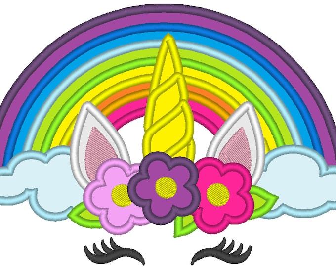 Rainbow Unicorn head with flowers crown applique  - machine embroidery designs applique Rainbow unicorn embroidery Rainbow unicorn face