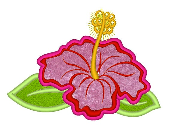 Hibiscus flower applique hawaii summer flower embroidery etsy