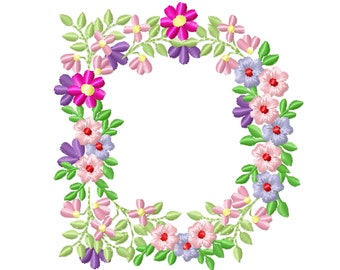 Country Floral letter D garden flag monogram flowers flower flowered Font machine embroidery designs monogram D only 3,5, 4, 5, 6, 7, 8 in
