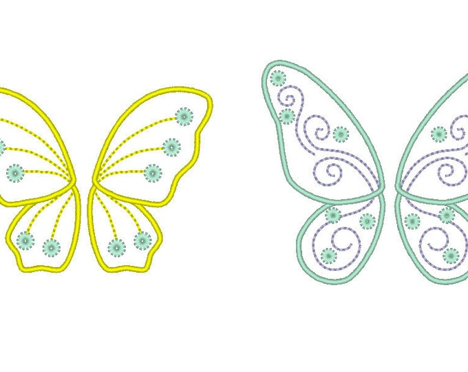 Fairy wings - machine embroidery  fill stitch and  appliqué designs, 2 various