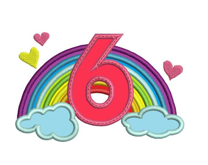 Cute Rainbow Birthday Number 6 SIX only machine embroidery applique designs, sizes 5, 6and 7 inches INSTANT DOWNLOAD