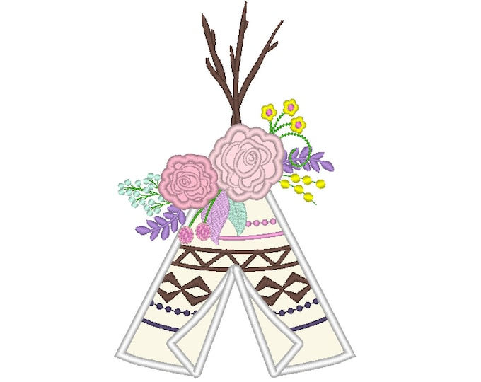 Roses crown Tepee Teepee Tipi with floral flower crown machine embroidery applique  designs - assorted sizes, for hoops 4x4, 5x7, 6x10