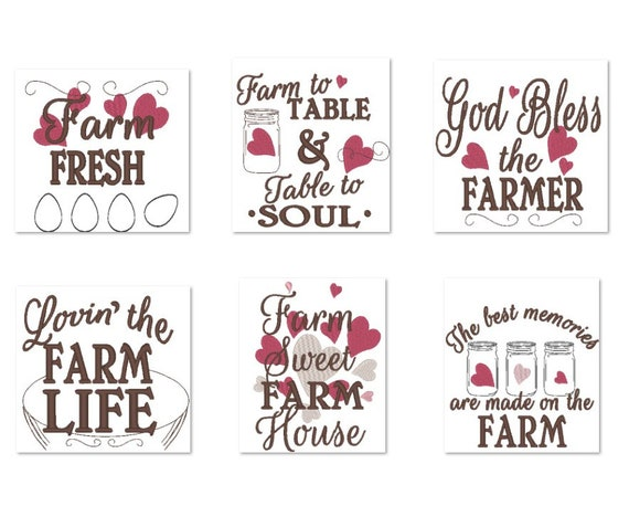 Farm Fresh Kitchen Dish Towel Embroidery Designs Set Of 6 Etsy