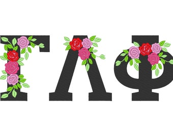 Fraternities & sororities Floral Greek font, whole entire alphabet roses rose flowers machine embroidery designs from 2″ up to 5 ″