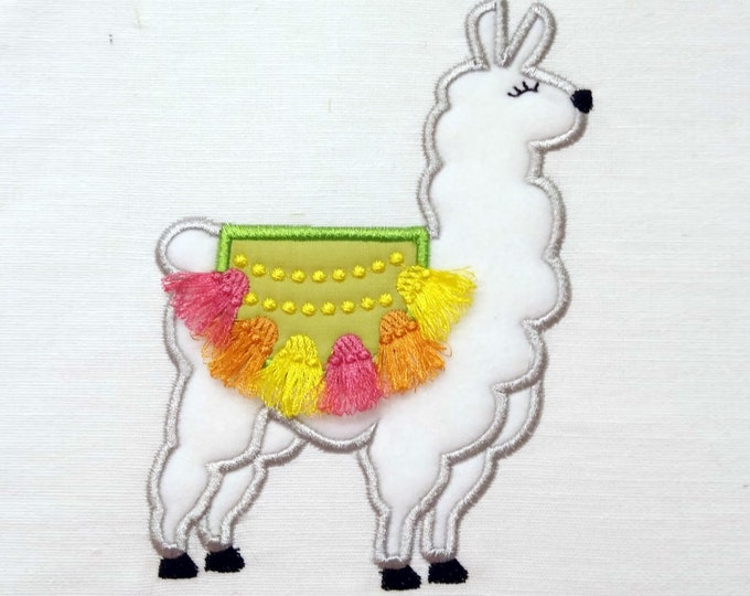 Lama, llama, alpaca, kids machine embroidery applique designs with awesome fringed fringe tassels, assorted sizes for hoop 4x4, 5x7, 6x10
