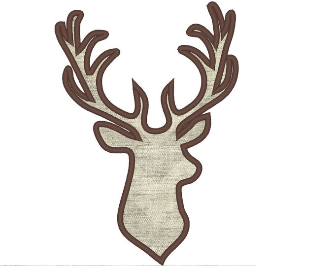 Buck deer head silhouette - machine embroidery applique designs - INSTANT DOWNLOAD, for hoops 5x7 and 6x10