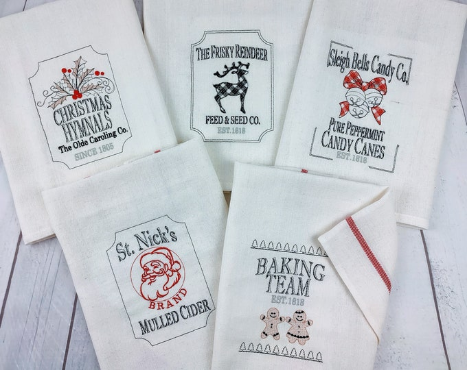 Retro Vintage style Christmas Kitchen dish towel quotes sayings SET of 6 pcs machine embroidery designs 4x4, 5x7, 8x8 for towels and pillows