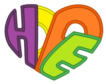 Magic HOPE heart machine embroidery design fill stitch and applique designs, multiple sizes for hoop 4x4, 5x7 and 6x10 INSTANT DOWNLOAD