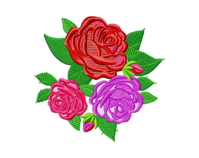 Rose bouquet triple three Roses Rosebud Shabby Chic Flowers machine embroidery designs, floral blossom rose embroidery INSTANT DOWNLOAD