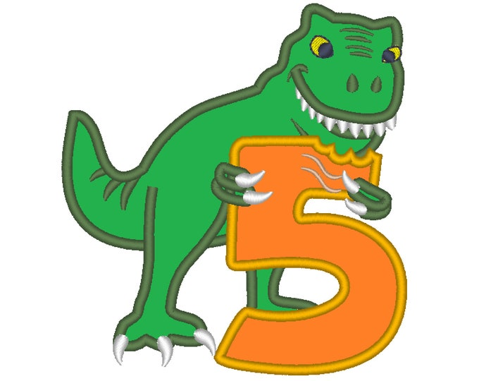 T-rex dinosaur Birthday number FIVE 5 machine embroidery Birtday outfit designs - assorted sizes, for hoops 4x4, 5x7, 6x10  INSTANT DOWNLOAD