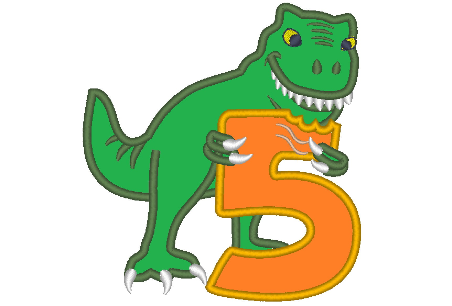 T-rex dinosaur Birthday number FIVE 5 machine embroidery ...