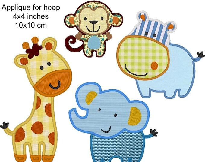 Wild animals - Elephant, Monkey, Giraffe and Behemoth - machine embroidery applique designs - download 4x4, 5x7, 6x10
