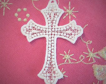 Cross lace embroidery design, cross FSL free standing lace machine embroidery design for hoop 4x4 and 5x7 assorted sizes, Christian Cross
