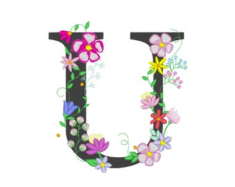 Floral letter U garden flag monogram lace swirl flowers block font and mini Font machine embroidery design monogram U only 4, 5, 6 and 8 in