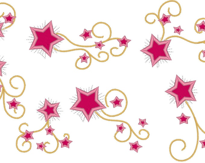 Shooting Sparkle swirly girly stars - Big set of different and in multiple sizes - embroidery machine designs, add-ons, many sizes INSTANT