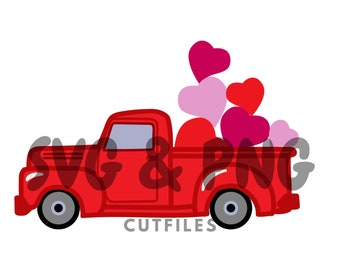 Vintage station wagon red truck, with hearts in the back, red truck with floating hearts SVG and PNG