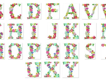 Floral whole entire alphabet garden flag monogram liberty fashioned flowers flower Font machine embroidery design 3.5 4 5 6 7 8″ also BX