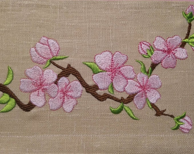 Cherry Blossom, Sakura flowers embroidery designs set, Iridescent 2 Color awesome flowers collection assorted sizes hoops 4x4 and 5x7
