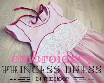 Little princess dress in-the-hoop ITH embroidery project - machine embroidery designs for baby girls 1y, 2y, 3y, 4 Years INSTANT DOWNLOAD