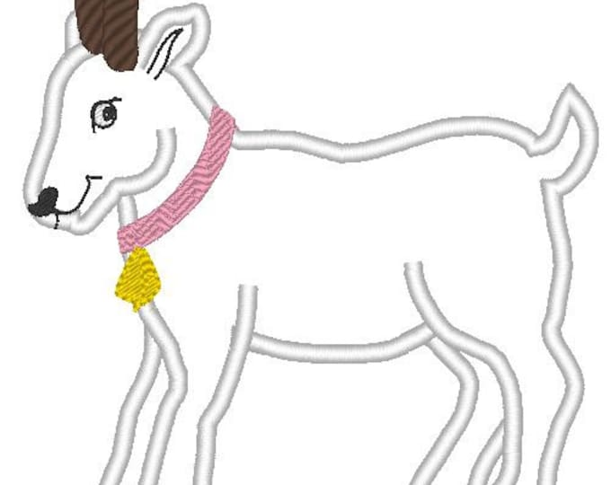 Goat with horns and without applique and mini fill stitch - machine embroidery designs 4x4, 5 x 7 and 6 x 10  INSTANT DOWNLOAD