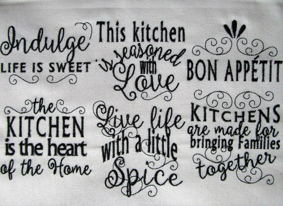 Kitchen Lovely Quotes Machine Embroidery Designs 4x4 And Etsy