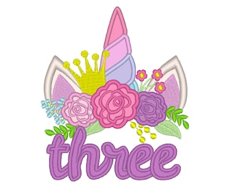 Written number three birthday Unicorn head with shabby chick roses crown and crown applique machine embroidery design Rainbow unicorn number