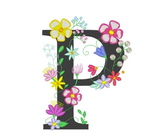 Floral letter P garden flag monogram lace swirl flowers block font and mini Font machine embroidery design monogram P only 4, 5, 6 and 8 in