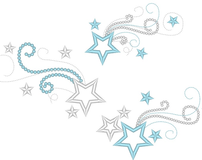 Shooting swirly stars - Set of 3 different and in multiple sizes - embroidery machine designs, add-ons, many sizes INSTANT DOWNLOAD