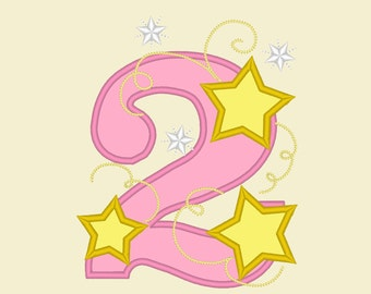 TWO Stars Applique embroidery Design, Two birthday embroidery design,  2nd birthday applique design - two years old - 4x4,5x7 assorted sizes