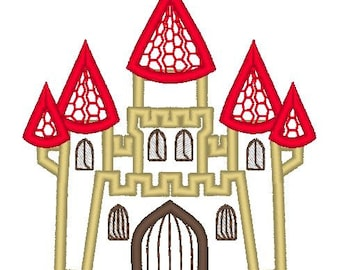 Castle machine embroidery applique design, girls dream magic castle palace for princess, multiple sizes 4x4, 5x7, 6x10 INSTANT DOWNLOAD