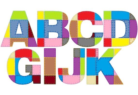 classic grild patchwork rag edges applique alphabet and etsy