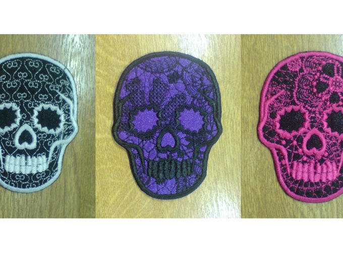 Day of the Dead Embroidered Lace Skull, Calavera, Sugar Skull INSTANT DOWNLOAD - embroidery design, Lace part is also embroidered