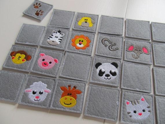 Memory game Animals machine embroidery design