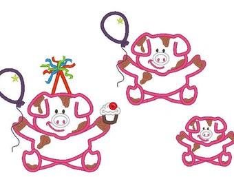 Farm Birthday piggy, with birthday hat, cake and balloon and without them - applique - for hoop 4x4 and 5x7 INSTANT DOWNLOAD
