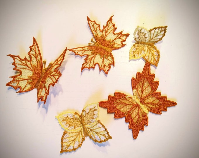 Autumn leaves butterflies set Autumn butterfly embroidery designs 3 types FSL Free standing lace embroidery in the hoop ITH embroidery