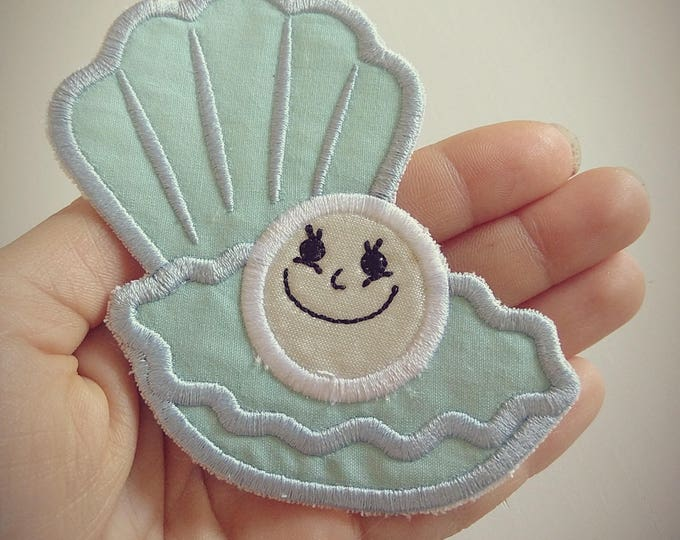 Funny pearl awesome patch - machine embroidery design shell pearl seaside patch applique designs assorted sizes INSTANT DOWNLOAD