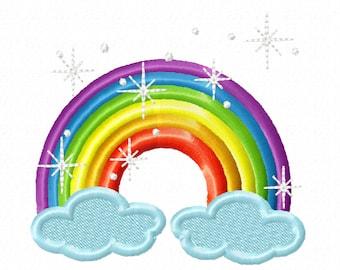Sparkling  Rainbow - machine embroider designs, 4x4 and  5x7 INSTANT DOWNLOAD rainbow unicorn sparkle