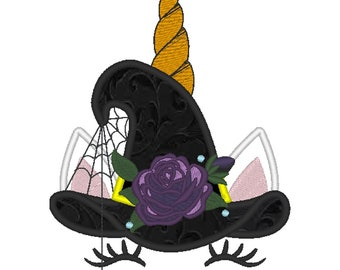 Halloween spider Unicorn head with rose flower hat applique machine embroidery designs Rainbow unicorn embroidery face fall