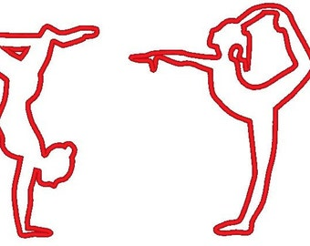 Girl Gymnast Dancer Yoga - machine embroidery applique design for hoop 4x4, 5x7 and 6x10 beautiful dancing girl INSTANT DOWNLOAD